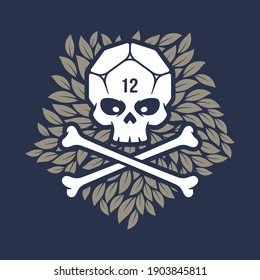 Vector skull with crossbones instead of head dice 12 sided. Leaves in the background.