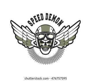 vector skull emblem in the helmet with the pistons on a white background Black and white