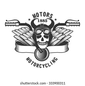 vector skull emblem motorcycle helmet and motorcycle glasses on a white background