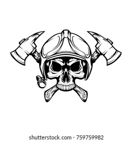 Vector skull in fire fighter helmet and axes