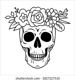 Vector skull with flowers in boho style. Outline dead head isolated on white background. Sugar skull floral print for Halloween.