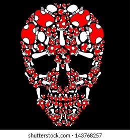 vector skull of fly agaric