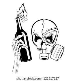 Vector Skull In Gas Mask With Molotov Coctail