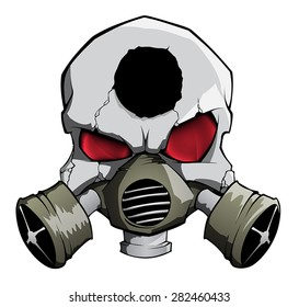 Vector skull with gas mask and red eyes