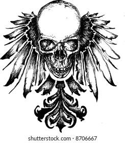 Vector skull grunge heraldry illustration