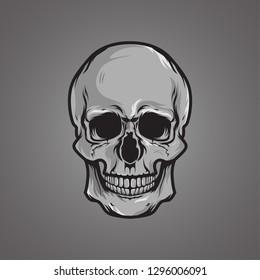 Vector skull head sport mascot illustration - shirt design on dark background . graphic isolated template white and black