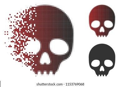 Vector skull icon in dispersed, pixelated halftone and undamaged solid versions. Disintegration effect involves rectangular particles and horizontal gradient from red to black.
