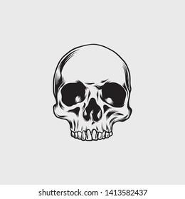 Vector of Skull Illustration Black and White