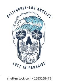 Vector skull illustration with palm trees , leaves and  waves. For t-shirt prints, posters and other uses.