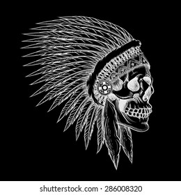 Vector skull of indian chief in hand drawing style. Feather tribal, skeleton western, cowboy and soldier