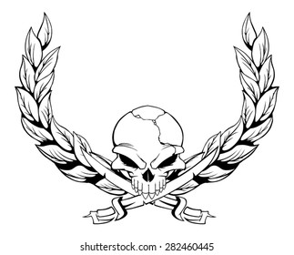 Vector skull with laurel wreath
