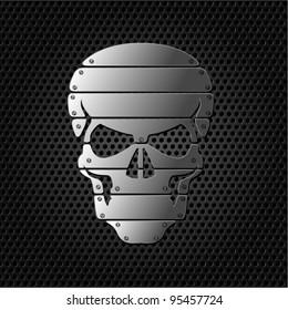 vector Skull on metal background