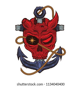 Vector Skull Red Evil Pirate with Anchor for t shirt, sticker, tattoo, logo design
