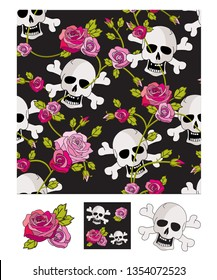 Vector skull & roses seamless patterns and icons