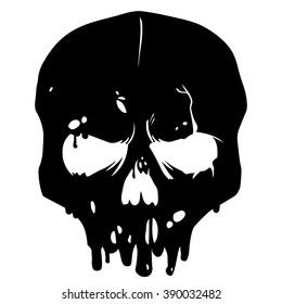 Vector skull silhouette isolated on white