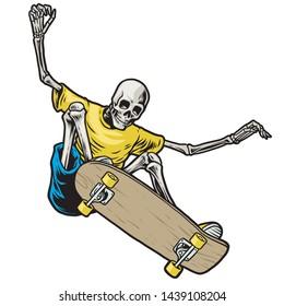 vector of skull skateboarder jumping in action