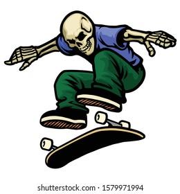 vector of skull skater jumping kickflip skateboard trick