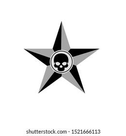 vector skull in star illustration design, skull logo design.