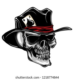 vector skull with top hat and ace of spades