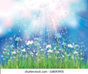 Vector sky background with blue flowers.