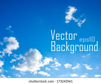 Vector sky. Blue sky with cloud closeup.