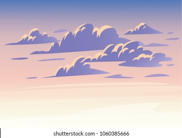 Vector sky clouds. Flat clean style illustration. Background design