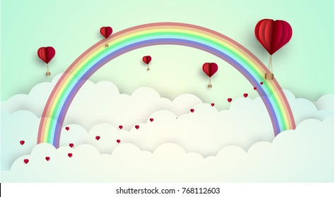 Vector sky love style of background.paper art graphic design