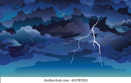 Vector sky scape with blue clouds, dark sky and lightning. Illustration with summer storm.
