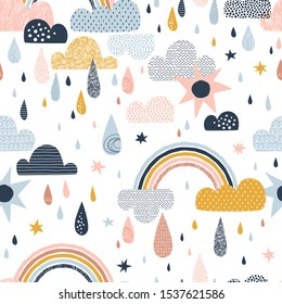 Vector sky seamless pattern with clouds, rain drops, rainbow, sun. Cute doodle decorative scandinavian print for textile, fabric, apparel gender-neutral kid nursery design