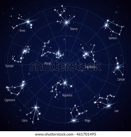 Vector Sky Star Map Constellations Stars Stock Vector (Royalty