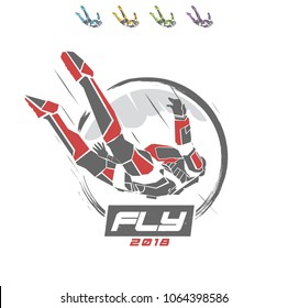 Vector Skydiver Parachute Fly Symbol Logo Brand Sign Graphics