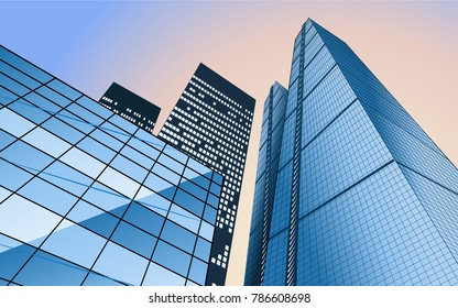 Vector skyline with business buildings. Business travel and tourism concept with glazed skyscrapers. Background for presentation banner flyers, brochures and websites. Silhouette of the city. Look up
