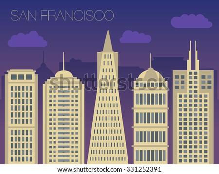 vector skyline famous buildings san francisco stock vector royalty