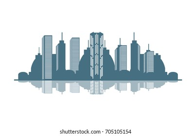 vector skyline illustration. Modern buildings, cityscape with reflection