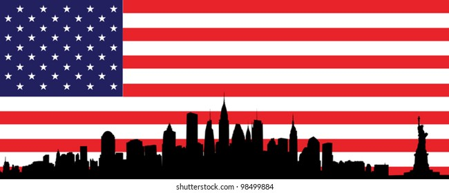 Vector of skyline of new york city with flag of united states of america