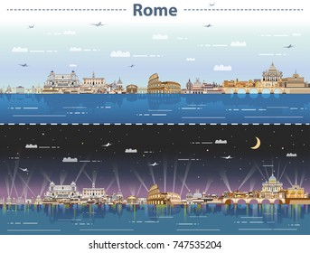 vector skyline of Rome at day and night