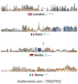 vector skylines of London, Paris, Berlin and Rome. Flags and maps of United Kingdom(and England), France, Germany and Italy