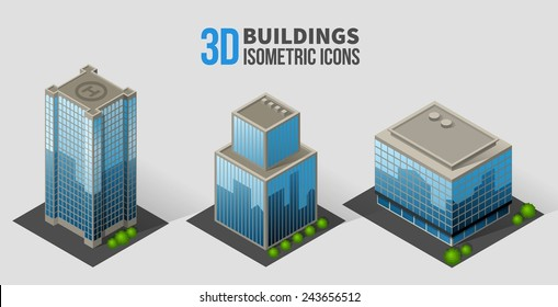 Vector skyscrapers with trees, isometric buildings of glass and concrete. 3D icons in the form of a skyscraper with glass facades, and bushes around