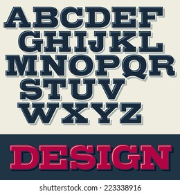 Vector slab serif font with shadows.