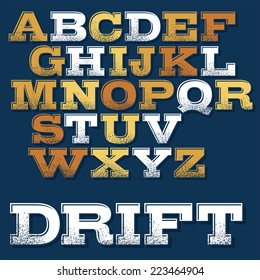 Vector slab serif font with shadows and dirt effect