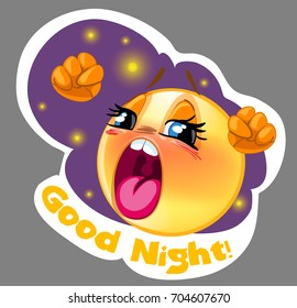 Vector sleepy smiley sticker with night background, for messengers and apps