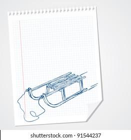 Vector sleigh doodle