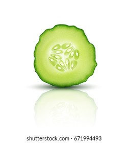 Vector slice juicy cucumber isolated on white background. Realistic 3d illustration. Element for modern design