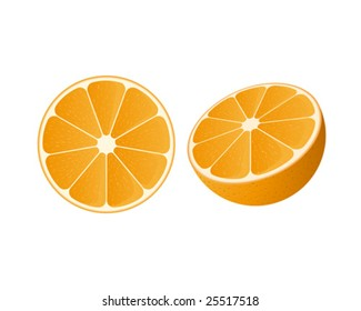 Vector of a slice of orange and a half orange