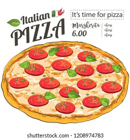 Vector slice pizza with tomato, cheese, basil, salami on white background. Doodle top view. Hand-drawn illustration Menu, line and watercolor sketch.