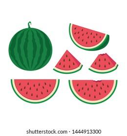 Vector slice watermelon. Vector set of whole and slices watermelon fruit isolated. Whole and cut in half watermelon