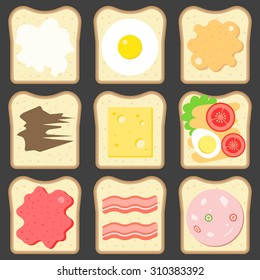 Vector sliced bread with bread spreads
