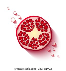 Vector sliced pomegranate with drops of juicy and seeds tropical fruit, realistic design, minimalistic style, isolated garnet fruit on a white background.