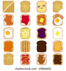 Vector of Sliced White and Brown bread toast with jam, egg, cheese, peanut butter, salami. A set of cute and colorful icon collection isolated on white background
