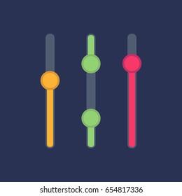 Vector slider bar. Sound mixer console. Vector illustration